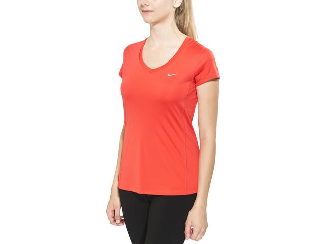 9c5a5db880e76 Nike Miler Running T-shirt Women V-Neck red at Bikester.co.uk